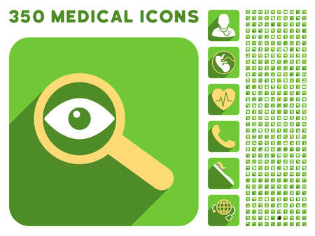 investigate: Investigate Vision icon and 350 vector medical icons collection. Style is white and yellow flat symbols on rounded square green buttons with longshadow.