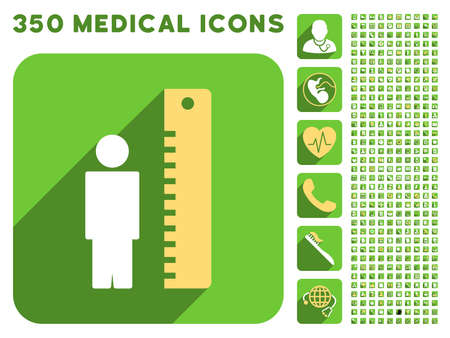 profile measurement: Man Height Meter icon and 350 vector medical icons collection. Style is white and yellow flat symbols on rounded square green buttons with longshadow.
