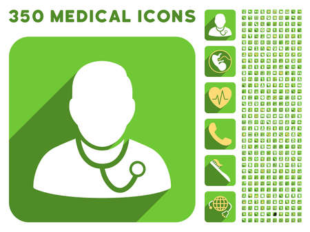meter box: Medic icon and 350 vector medical icons collection. Style is white and yellow flat symbols on rounded square green buttons with longshadow.