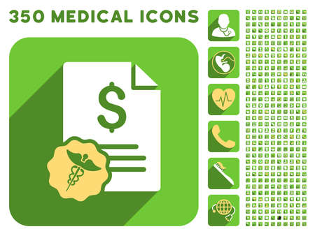 doctor with dollars: Medical Prices icon and 350 vector medical icons collection. Style is white and yellow flat symbols on rounded square green buttons with longshadow.