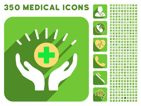 medical distribution: Medical Prosperity icon and 350 vector medical icons collection. Style is white and yellow flat symbols on rounded square green buttons with longshadow.