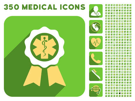 first form: Medical Seal icon and 350 vector medical icons collection. Style is white and yellow flat symbols on rounded square green buttons with longshadow. Illustration