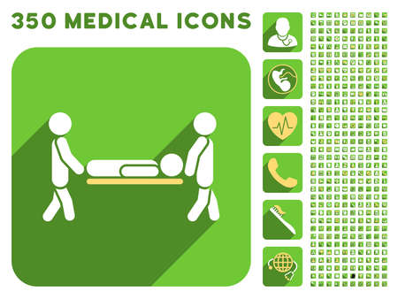medics: Medics Carry the Patient icon and 350 vector medical icons collection. Style is white and yellow flat symbols on rounded square green buttons with longshadow. Illustration