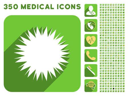 microbio: icono de la espora microbio y 350 vector colecci�n de iconos de m�dicos. El estilo es blanco y amarillo s�mbolos planas en los botones verdes cuadrado redondeado con Longshadow.