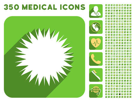 goad: Microbe Spore icon and 350 vector medical icons collection. Style is white and yellow flat symbols on rounded square green buttons with longshadow. Illustration