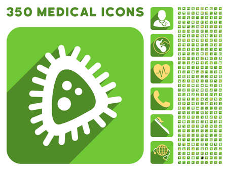 medical symbols: Micro Parasite icon and 350 vector medical icons collection. Style is white and yellow flat symbols on rounded square green buttons with longshadow.