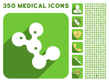 microbes: Microbes Colony icon and 350 vector medical icons collection. Style is white and yellow flat symbols on rounded square green buttons with longshadow.