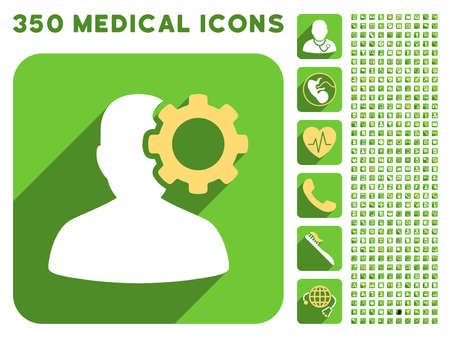 migraine: Migraine icon and 350 vector medical icons collection. Style is white and yellow flat symbols on rounded square green buttons with longshadow. Illustration