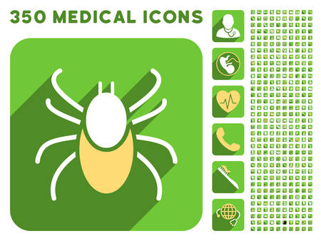 mite: Mite icon and 350 vector medical icons collection. Style is white and yellow flat symbols on rounded square green buttons with longshadow.