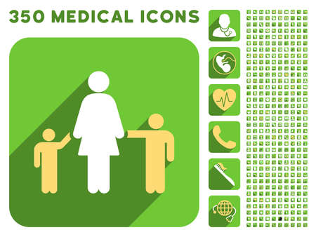 meter box: Mother and Children icon and 350 vector medical icons collection. Style is white and yellow flat symbols on rounded square green buttons with longshadow.