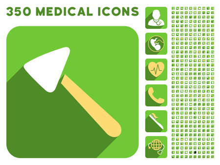 neurologist: Neurologist Hammer icon and 350 vector medical icons collection. Style is white and yellow flat symbols on rounded square green buttons with longshadow. Illustration