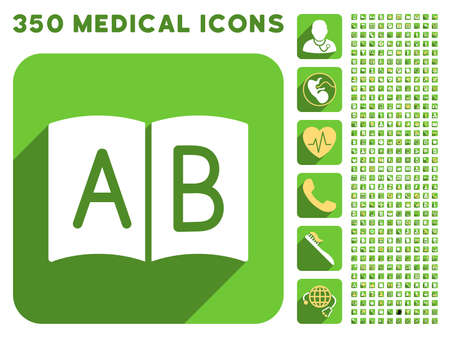 handbook: Open Handbook icon and 350 vector medical icons collection. Style is white and yellow flat symbols on rounded square green buttons with longshadow. Illustration
