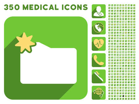 sms payment: New Folder icon and 350 vector medical icons collection. Style is white and yellow flat symbols on rounded square green buttons with longshadow.