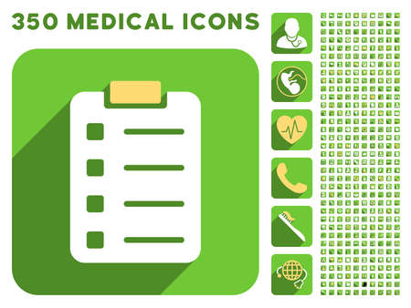 numerate: Pad Form icon and 350 vector medical icons collection. Style is white and yellow flat symbols on rounded square green buttons with longshadow. Illustration