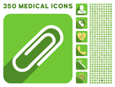 paperclip: Paperclip icon and 350 vector medical icons collection. Style is white and yellow flat symbols on rounded square green buttons with longshadow.