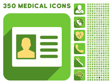 doctor and patient vector: Patient Account icon and 350 vector medical icons collection. Style is white and yellow flat symbols on rounded square green buttons with longshadow. Illustration