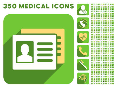sms payment: Patient Accounts icon and 350 vector medical icons collection. Style is white and yellow flat symbols on rounded square green buttons with longshadow.