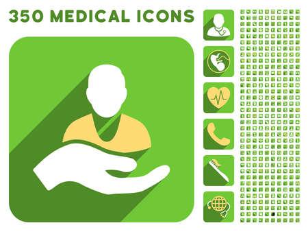 Paziente icona Assistenza e 350 icone vettoriali medico di raccolta. Lo stile è bianco e giallo simboli piatte sul arrotondati pulsanti quadrato verde con Longshadow.