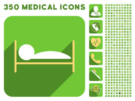 patient bed: Patient Bed icon and 350 vector medical icons collection. Style is white and yellow flat symbols on rounded square green buttons with longshadow.
