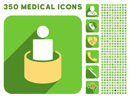isolation: Patient Isolation icon and 350 vector medical icons collection. Style is white and yellow flat symbols on rounded square green buttons with longshadow. Illustration