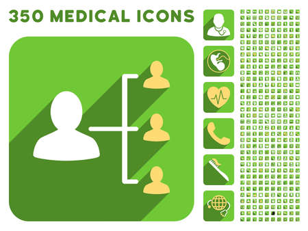 time account: Patient Relations icon and 350 vector medical icons collection. Style is white and yellow flat symbols on rounded square green buttons with longshadow.