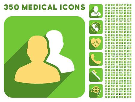 Die Patienten-Symbol und 350 Vektor medizinische Icons Sammlung. Der Stil ist weiß und gelb flache Symbole auf runden Platz grünen Tasten mit Longshadow.