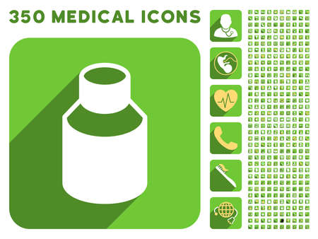 phial: Phial icon and 350 vector medical icons collection. Style is white and yellow flat symbols on rounded square green buttons with longshadow.