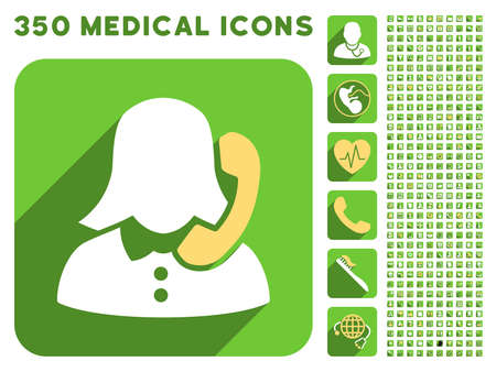 phone operator: Phone Operator icon and 350 vector medical icons collection. Style is white and yellow flat symbols on rounded square green buttons with longshadow.