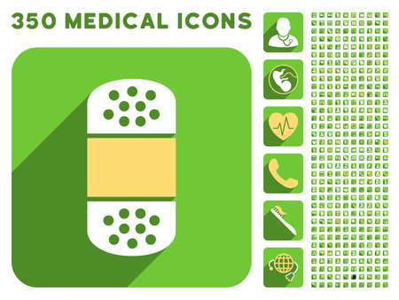 first form: Plaster icon and 350 vector medical icons collection. Style is white and yellow flat symbols on rounded square green buttons with longshadow.