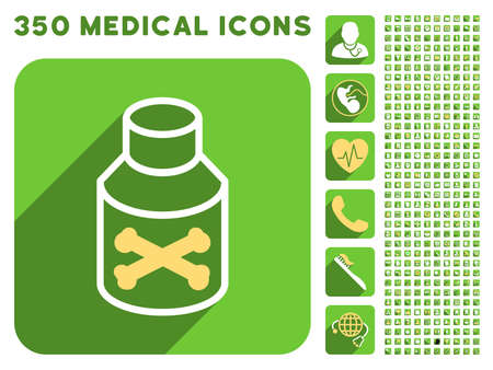 poison bottle: Poison Bottle icon and 350 vector medical icons collection. Style is white and yellow flat symbols on rounded square green buttons with longshadow. Illustration