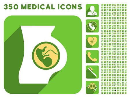 Pregnancy Anatomy icon and 350 vector medical icons collection. Style is white and yellow flat symbols on rounded square green buttons with longshadow.