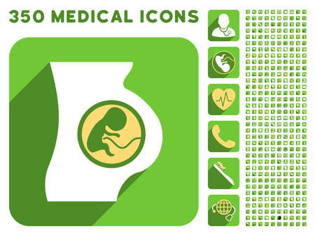 placenta: Pregnant Woman Anatomy icon and 350 vector medical icons collection. Style is white and yellow flat symbols on rounded square green buttons with longshadow. Illustration