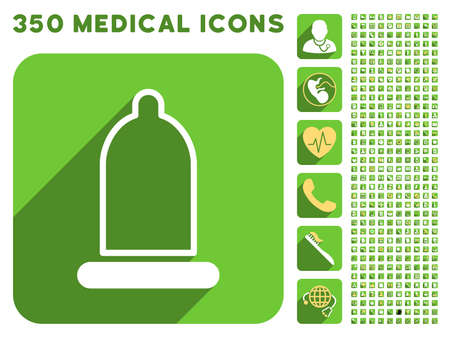 preservative: Preservative icon and 350 vector medical icons collection. Style is white and yellow flat symbols on rounded square green buttons with longshadow. Illustration
