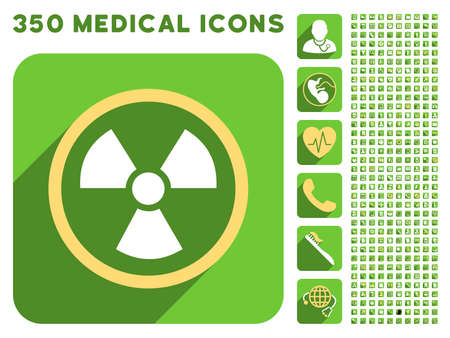 danger of radiation: Radiation Danger icon and 350 vector medical icons collection. Style is white and yellow flat symbols on rounded square green buttons with longshadow.