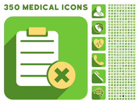 Reject Form icon and 350 vector medical icons collection. Style is white and yellow flat symbols on rounded square green buttons with longshadow.