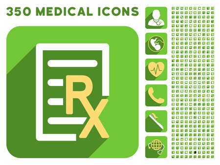 medical bills: Receipt Text icon and 350 vector medical icons collection. Style is white and yellow flat symbols on rounded square green buttons with longshadow.