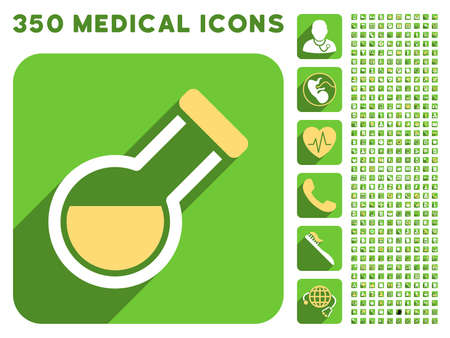 retort: Retort icon and 350 vector medical icons collection. Style is white and yellow flat symbols on rounded square green buttons with longshadow.