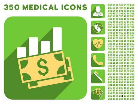 price gain: Sales Bar Chart icon and 350 vector medical icons collection. Style is white and yellow flat symbols on rounded square green buttons with longshadow. Illustration