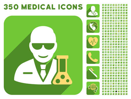 retort: Scientist With Retort icon and 350 vector medical icons collection. Style is white and yellow flat symbols on rounded square green buttons with longshadow.
