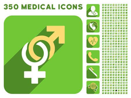 Símbolos sexuales icono y 350 vector colección de iconos de médicos. El estilo es blanco y amarillo símbolos planas en los botones verdes cuadrado redondeado con Longshadow.