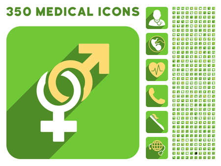 sexual health: Sexual Symbols icon and 350 vector medical icons collection. Style is white and yellow flat symbols on rounded square green buttons with longshadow.