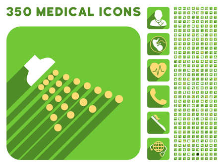 medical shower: Shower icon and 350 vector medical icons collection. Style is white and yellow flat symbols on rounded square green buttons with longshadow.