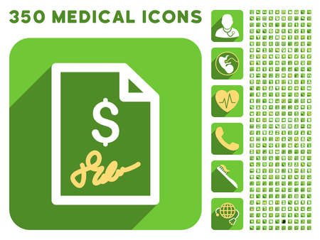 signed: Signed Invoice icon and 350 vector medical icons collection. Style is white and yellow flat symbols on rounded square green buttons with longshadow.