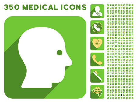 silent: Silent Head icon and 350 vector medical icons collection. Style is white and yellow flat symbols on rounded square green buttons with longshadow.
