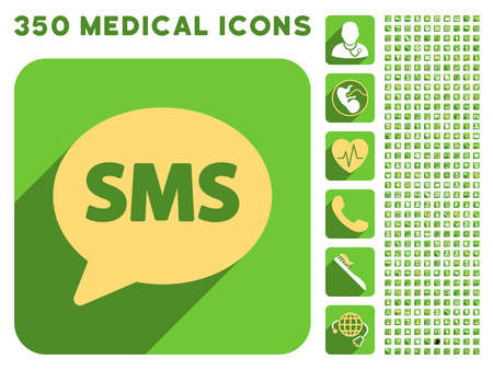 short message service: SMS icon and 350 vector medical icons collection. Style is white and yellow flat symbols on rounded square green buttons with longshadow. Illustration