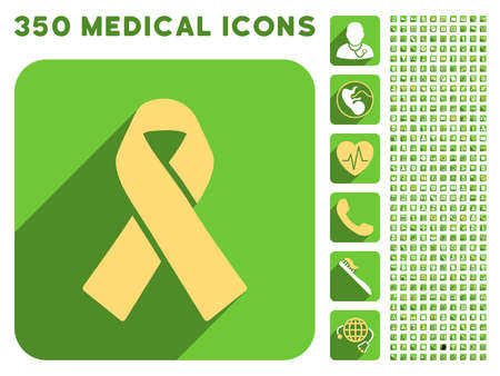 recycling campaign: Solidarity Ribbon icon and 350 vector medical icons collection. Style is white and yellow flat symbols on rounded square green buttons with longshadow.