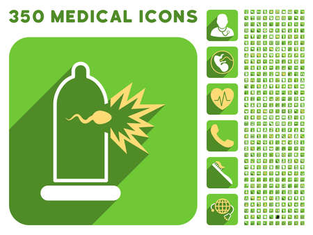 condom: Sperm Escape Condom icon and 350 vector medical icons collection. Style is white and yellow flat symbols on rounded square green buttons with longshadow. Illustration