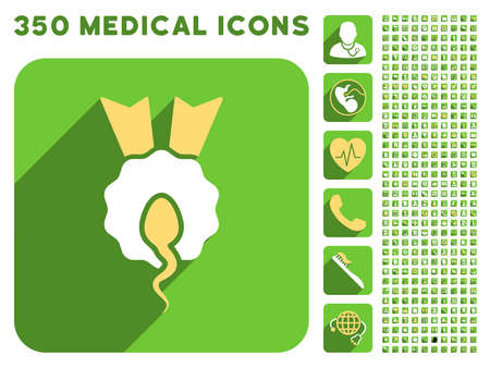 spermatozoon: Sperm Winner icon and 350 vector medical icons collection. Style is white and yellow flat symbols on rounded square green buttons with longshadow.