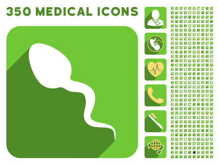 provocative: Spermatosoid icon and 350 vector medical icons collection. Style is white and yellow flat symbols on rounded square green buttons with longshadow. Illustration