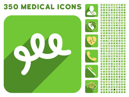 bacillus: Spiral Bacillus icon and 350 vector medical icons collection. Style is white and yellow flat symbols on rounded square green buttons with longshadow.